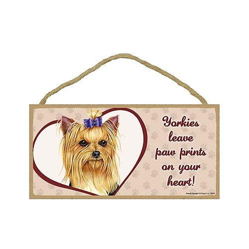(Yorkshire Terrier (with bow) - leave paw prints on your heart Door Sign 5''x10'')