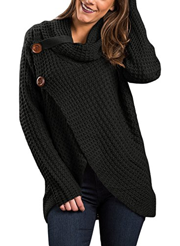 Asvivid Women's Lightweight Turtle Cowl Neck Asymmetric Wrap Knitted Work Sweaters Button Details S Black
