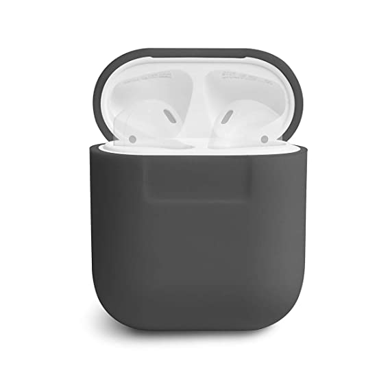 online store 87cc0 a0e45 elago AirPods Silicone Case [Dary Grey] - [Compatible with Apple AirPods 1  & 2; Front LED Not Visible][Supports Wireless Charging][Extra Protection]  ...
