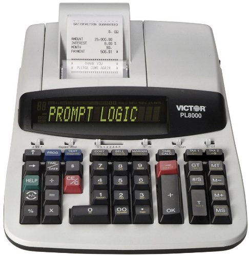 Victor Technology PL8000 Thermal Printing Calculator, Prompt Logic, Help Key, 8.0 Lines Per ()