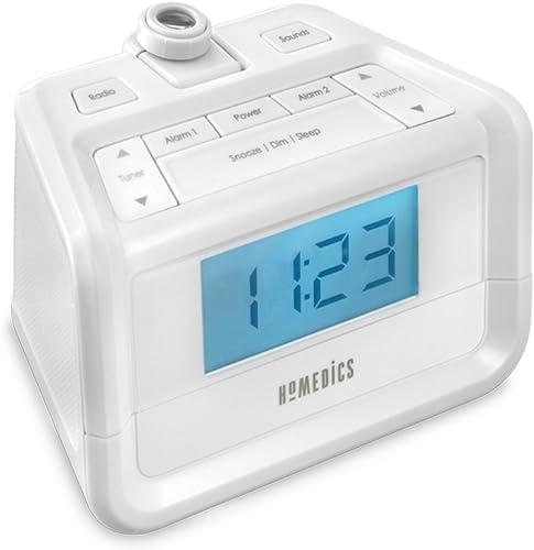 Dual Alarm Digital FM Clock Radio Time Projection , 8 Relaxing Nature Sounds , LED Display , Multi-Alarm Snooze , Sleep Timer , Nightlight , Ceiling Clock SoundSpa HoMedics