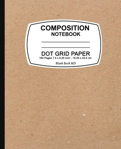 Dot Grid Notebook: Kraft Design,Dot Grid Notebook, 7.5 x 9.25, 160 Pages For for School / Teacher / Artist / Student Composition Book