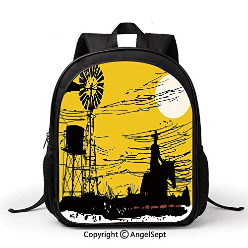 Book Bag Durable School Bags,Windmill Decor,Australian Outback Inspired Artwork Cowboy on Horse at Sunset,Earth Yellow Black White,Student Backpack Bookbags for Children ()