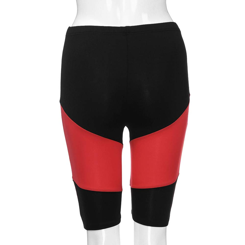 Women Patchwork Shorts High Elasticity Knee Length Spliced Gym Active Pants