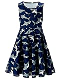 Adicreat Girls Shark Print Round Neck Sleeveless Dress Cute A-Line Funny Dress Blue 10-12 Years