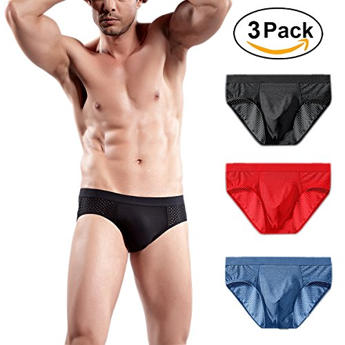Muryobao Men's Bikini Briefs Bulge Pouch Underwear Low Rise Modal Brief for Sport Swimming Pack of 3 Black Red Blue XXXL