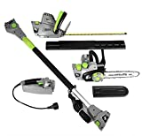 Earthwise 4-in-1 Chainsaw, Hedge Trimmer, Pole Hedge and Saw, Electric Powered, 2 year Limited Manufacturer Warranty, Grey with Green Accents