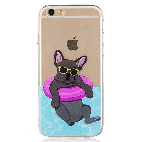 iPhone 6 Case, GreenDimension Amusing Whimsical Design Shock Absorption Clear Soft Rubber Cushion Bumper Gel TPU Transparent Scratch Resistant Case Silicone Skin Cover for iPhone 6S 6S - Swimming - Insurance Sunglasses Does Cover
