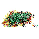 Aexit 10 AWG Wire Mixed Color Pre Insulate Ferrules Terminals E6012 760Pcs