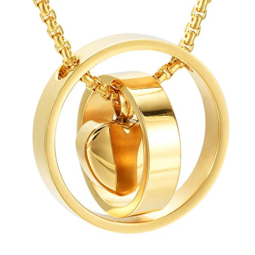 Engravable Two Circle Lock Heart Cremation Necklace For Ashes + Free Box ,Chain And Fill Kits - Gold Circle Necklace Heart Pendant