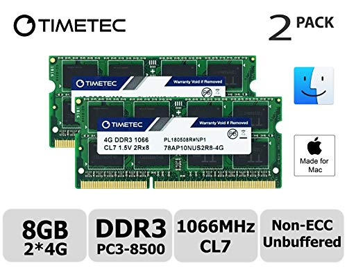 - Timetec Hynix IC Apple 8GB Kit (2x4GB) DDR3 PC3-8500 1066MHz Memory Upgrade for iMac 21.5 inch/27 inch/20 inch/24 inch, MacBook Pro 13 inch/ 15 inch/ 17 inch, Mac Mini 2009 2010 (8GB Kit (2x4GB))