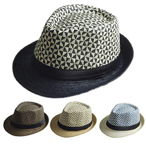 Summer Fedora hat Trilby Gangster Cap Beach Sun Straw Panama Hat Beach hat Men Women Black -