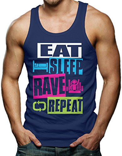 Clothes Rave Shops (Eat Sleep Rave Repeat Men's Tank Top T-shirt (XL, NAVY BLUE))