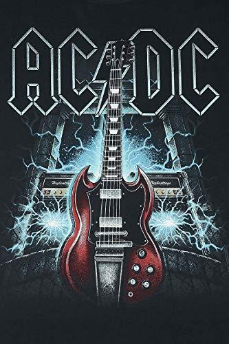 Manches Voltage High Noir Ac Guitar dc T shirt Générique Longues AavxTqw