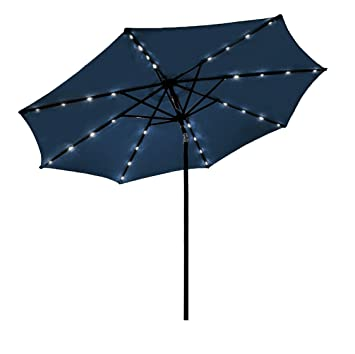 Odaof LED Light Outdoor Table Aluminum Patio Umbrella With Push Button Tilt  And Crank, 8