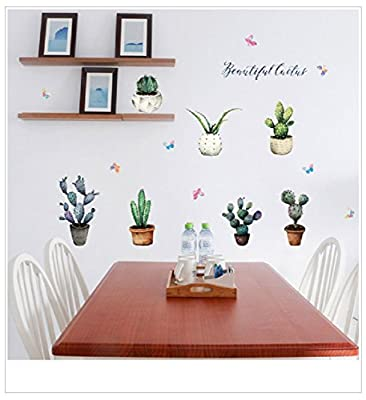 Suyunyuan DIY Cactus Potted Wall Sticker Cabinet Windowsill Stickers Butterfly flowers Muraux Muurstickers Home Decor Removable Wall Decal