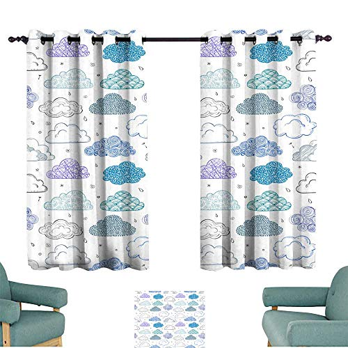 Breathable curtain Seamless background with blue and violet doodle clouds Can be used for wallpaper pattern fills textile web page background surface textures 70%-80% Light Shading, 2 Panels, ()