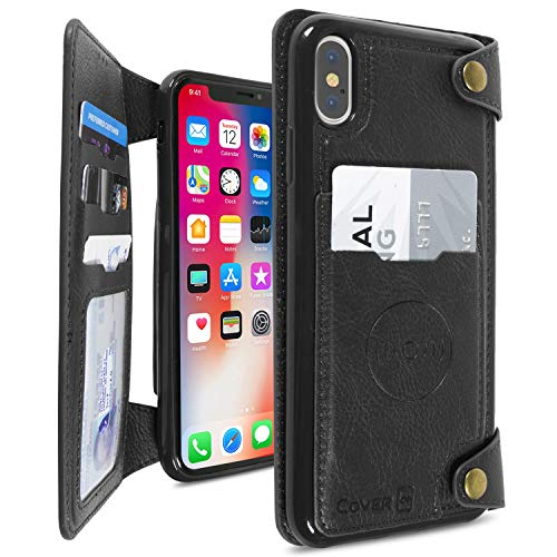 x Magnetic Wallet Case, Scout Series Premium Vegan Leather Credit Card Holder Wallet Cover with Magnetic Car Mount Compatible Plate - Black ()