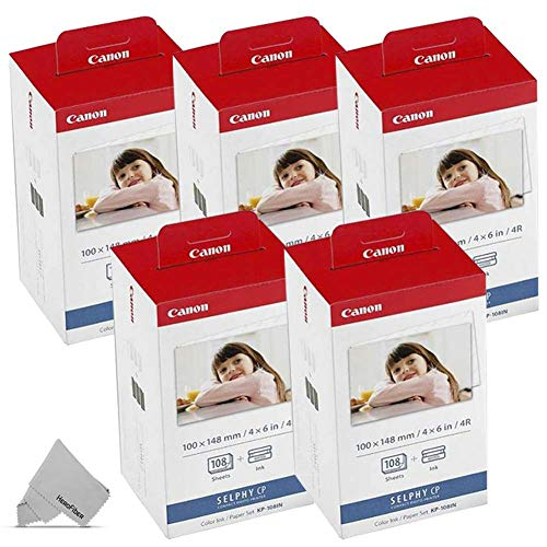 5 Pack Canon KP-108IN / KP108 Color Ink Paper includes 540 Ink Paper sheets + 15 Ink toners for Canon Selphy CP1300, CP1200, CP910, CP900, cp770, cp760 Compact Photo Printers