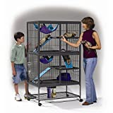 """MidWest Deluxe Ferret Nation Double Unit Ferret Cage (Model 182) Includes 2 leak-Proof Pans, 2 Shelves, 3 Ramps w/Ramp Covers & 4 locking Wheel Casters, Measures 36""""L x 25""""W x 62.5""""H Inches"""