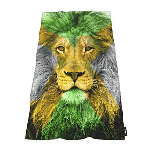 Moslion Soft Bath Towels Jamaican Flag and Lion Green Yellow Comfy Bathing/Beach/Camping Towel for Women Men Girls Boys Large Size 64x32 Inches (Jamaican Beach Towel)
