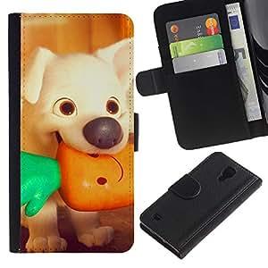 Billetera de Cuero Caso Titular de la tarjeta Carcasa Funda para Samsung Galaxy S4 IV I9500 / puppy cartoon vegetarian vignette / STRONG
