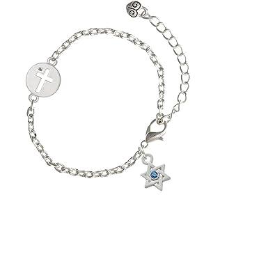 Amazon.com: Mini Estrella de David con Cruz de vidrio ...