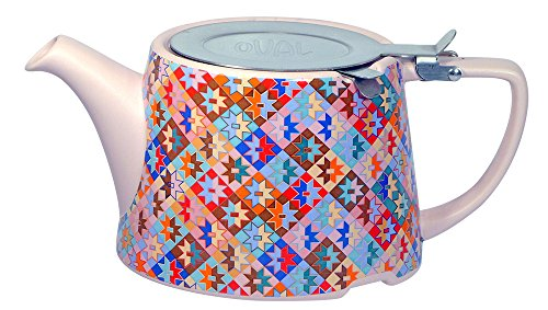 The London Pottery Co & Kaffe Fassett A03555 Ceramic Teapot with Infuser, 26.5 fl. oz. , Patchwork