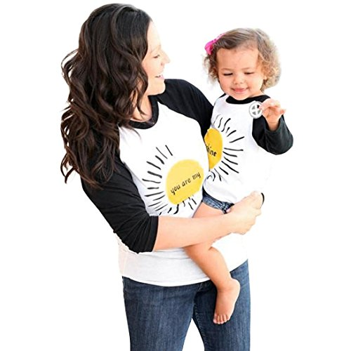 (Raptop Mother & Daughter Matching Letter Print blouse Long Sleeve shirt Tops Family Clothes Set Gift for Mom Baby Girl Women Black (Mom), M)
