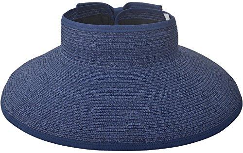 Women Summer Roll Up UV Protection Wide Brim Sun Visor Hat Dark Blue (Ray-bun)