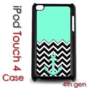 IPod Touch 4 4th gen Touch Plastic Case - Teal Chevron Stripes Anchor