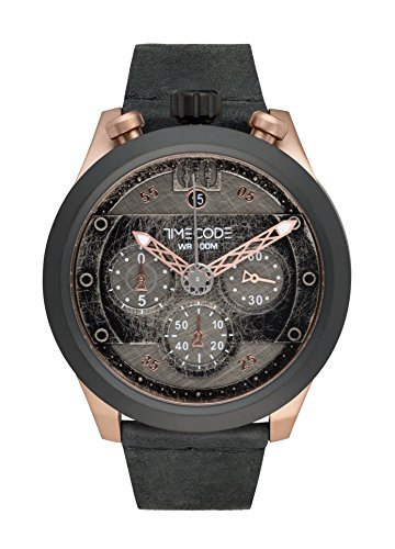 Timecode Moon 1969 TC-1015-05 46mm Men's Watch BLACK dial BLACK leather Date Chronograph
