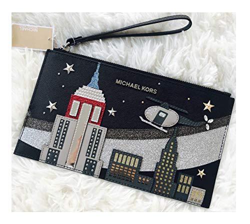 Michael Kors Jet Set XL Zip Clutch Wristlet Nouveau Novelty NYC Studded Bag