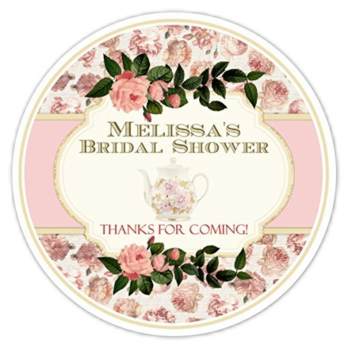 36 bridal shower labels vintage tea party bridal shower pink roses tea pot