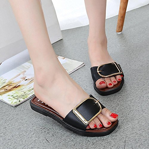 AIMTOPPY HOT Sale, Women Summer Flat Heel Square Buckle Sandals Slippers Casual Shoes Indoor Juniors