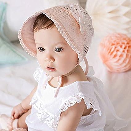 Timagebreze Primavera Cap Estate dolce principessa Hollow Baby Girls Hat Lace-up Beanie cotone Bonnet Bambino bambini Fiore Beanie Lace Floral Cap rosa