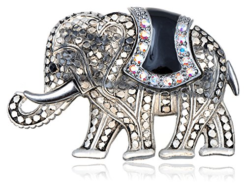 Alilang Matte Clear Grey Black Stone Iridescent Rhinestones Elephant Brooch Pin -