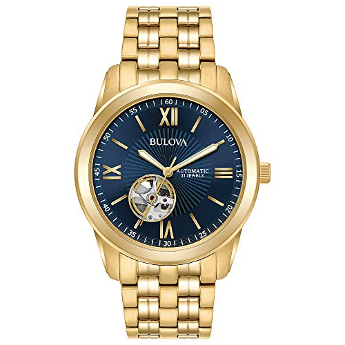 Bulova Men's Goldtone Automatic Bracelet Watch, Blue Dial