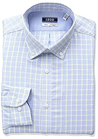 Izod men 39 s slim fit plaid buttondown collar dress shirt at for Izod shirt size chart