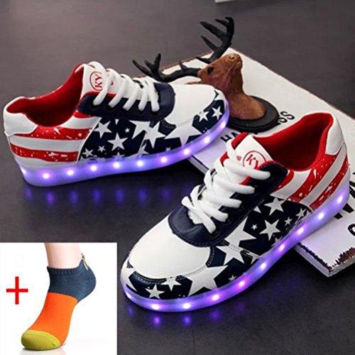 (Presente:pequeña toalla)JUNGLEST USB Carga de la Zapatilla Zapatillas de Deporte Con 7 Colores de Iluminación LED Intermitente Para los Amantes de N c34