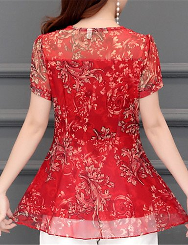 Mujer De Yfltz Camisa Color Bloque Red Redondo Cuello qPqHw