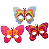 6 x Eva Foam Butterfly Masks with Elastic - Each poly bagged -Party Bag Fillers