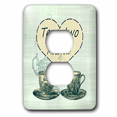 Russ Billington Designs   Tea For Two  Vintage China Teacups And Oil Lamp   Light Switch Covers   2 Plug Outlet Cover  Lsp 239184 6