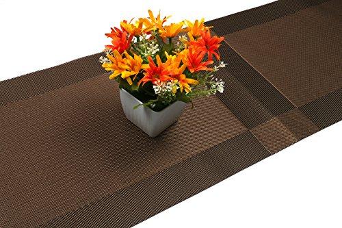 Compatible Placemats table runner,U'artlines 1 piece Crossweave Woven Vinyl Table Runner Washable 30x180cm (Brown, Table runner) by U'Artlines (Image #7)