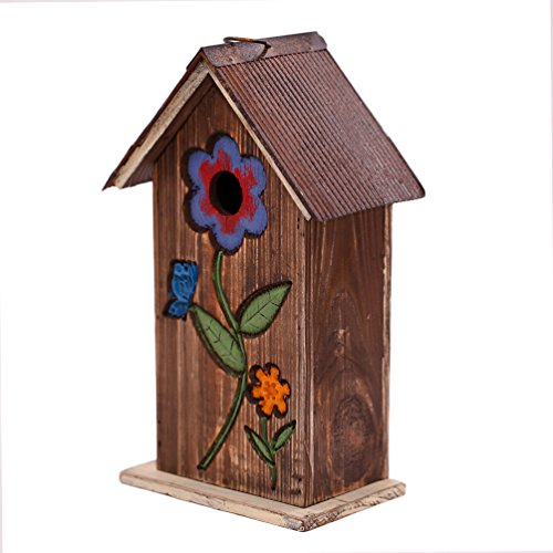 A Ting Wooden Carved Floral Birdhouse with Hanging(Brown)