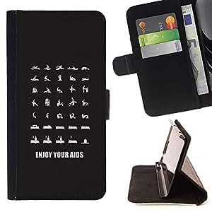 Momo Phone Case / Flip Funda de Cuero Case Cover - Ayudas Posiciones Sexo seguro Condón - Samsung Galaxy S6
