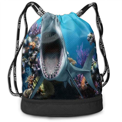 Game Aquarium Deluxe (HUVATT Drawstring Bag Great White Shark Fishtank Womens Gym Backpack Fabulous Mens Travel Canvas Bags for Youth)