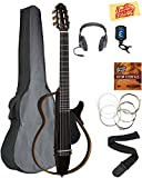 Yamaha SLG200N Nylon String Silent Guitar Bundle with Gig Bag, Headphones, Strings, Strap, Instructional DVD, Picks, and Polishing Cloth - Trans Black