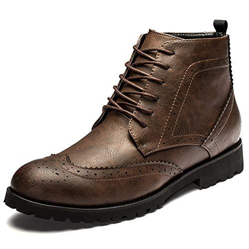 Botines Cafe Cortas Vestido Libre Para Zapatos Trabajo Moto Piel Con Puntiagudo De Botas Hombre Al Casuales Aire Cordones xSUCqq