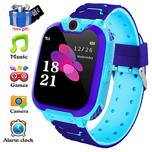 Kids Smart Watch for Android Phones - Kids Watch Phone Music Smartwatchs with Music Player FM Alarm Clock Camera Games Watch, Smartwatch Touch Screen for Boys Girls Gift [1GB Micro SD Included] (Android Games Kids)